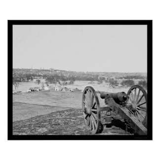 Richmond, Virginia from Bell Isle with Gun 1865 Poster