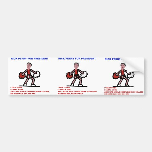 Rick Perry for President Cheerleader Cartoon Bumper Stickers