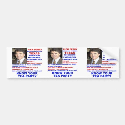 Rick Perry, Tea Party Governor of Texas Bumper Sticker