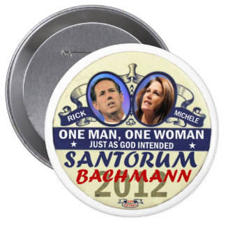 Rick Santorum and Michele Bachmann in 2012 10 Cm Round Badge