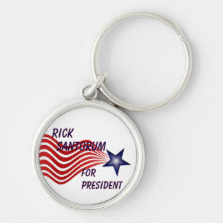 Rick Santorum For President Shooting Star Silver-Colored Round Key Ring