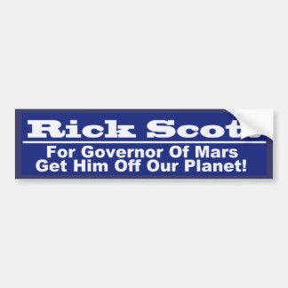 Rick Scott for Governor of Mars Bumper Sticker