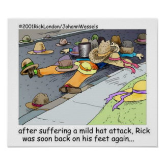Rick Suffers A Hat Attack Cartoon Poster Posters
