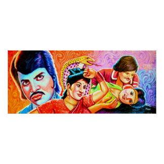 Rickshaw Art traditional actors Poster