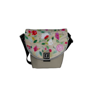 Rickshaw Messenger Bag, mini, floral, taupe Courier Bags