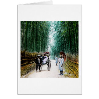 Rickshaw on the Road to Kyoto Japan Vintage Card