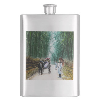 Rickshaw on the Road to Kyoto Japan Vintage Hip Flask