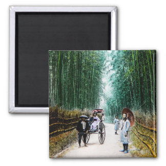 Rickshaw on the Road to Kyoto Japan Vintage Magnet
