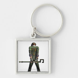 Riddler Color Silver-Colored Square Key Ring