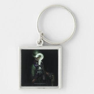 Riddler Illustration Silver-Colored Square Key Ring