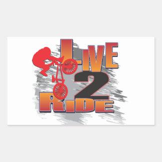 Ride 2 Live BMX Biker Rectangular Sticker
