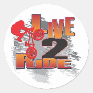 Ride 2 Live BMX Biker Round Sticker