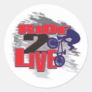 Ride 2 Live BMX Rider Round Sticker