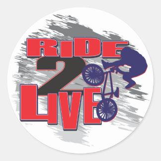 Ride 2 Live Live 2 Ride BMX rider Round Sticker
