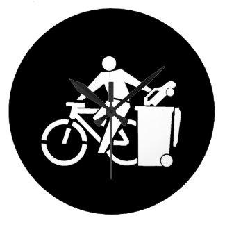Ride A Bike Not A Car Large Clock