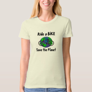 Ride a Bike...Save the Planet ! (Womens Style) Tee Shirts