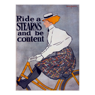 Ride A Stearns And Be Content Bicycle Advertising Poster