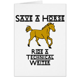 ride a technical writer note card
