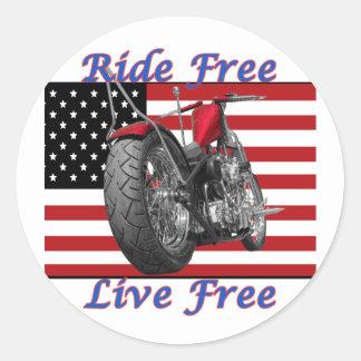 Ride Free Live Free Classic Round Sticker