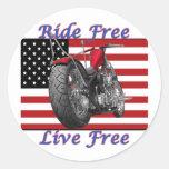 Ride Free Live Free Round Sticker