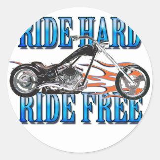 Ride Hard Round Stickers