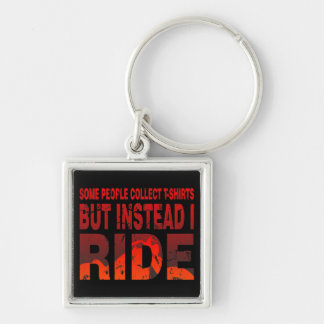 Ride not Collect Silver-Colored Square Key Ring