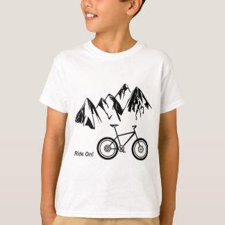 Ride On! Mountain Bike Silhouette w/ Mountains Tshirts