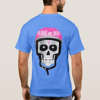 Ride or Die Skull in Biker Helmet T-Shirt