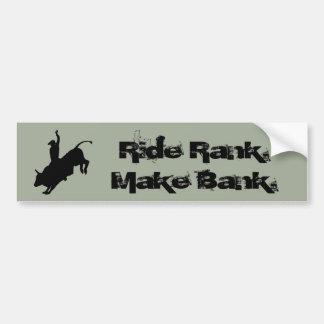 Ride Rank Bull Riding Rodeo Cowboy Up Bumper Sticker