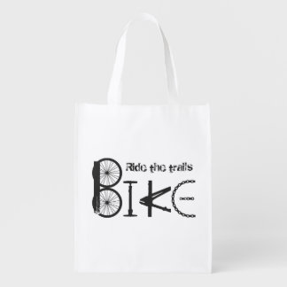Ride the Trails Bike Graffiti Quote Cycling Sport Reusable Grocery Bag