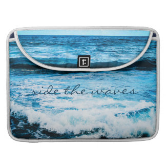 """""""Ride the Waves"""" Quote Hawaii Blue Ocean Photo Sleeve For MacBooks"""