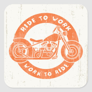 Ride to Work Square Sticker