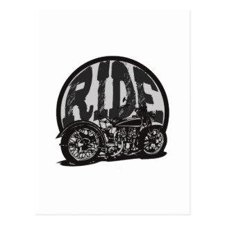 Ride Vintage Motorcycle Postcard