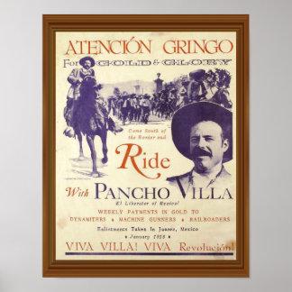 Ride With Pancho Villa Vintage Artwork Poster