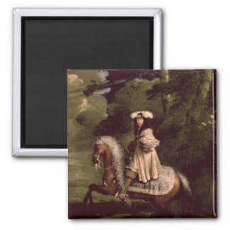 Rider in Blue Square Magnet