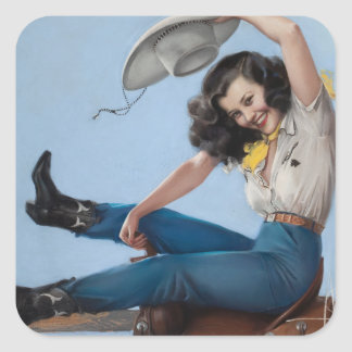 Ridin' High Pin Up Art Square Sticker