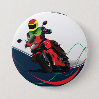 Riding A Red Motorcycle 7.5 Cm Round Badge