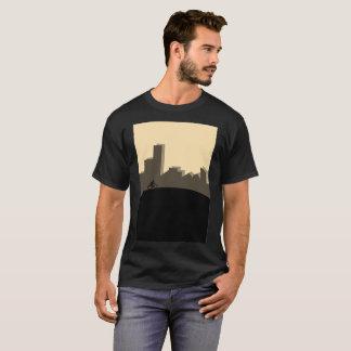 Riding Bike Unique City Buildings Modern T-Shirt