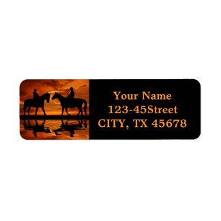 Riding Cowboys in Sunset Return Address Label