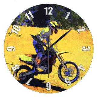 Riding Hard! - Motocross Racer Large Clock