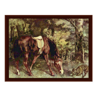 Riding In The Woods By Courbet Gustave Postcard