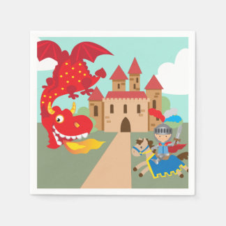 Riding Knight and Red Flying Dragon Paper Napkin