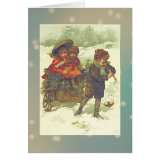 Riding on a Cart of Holly Greeting Card