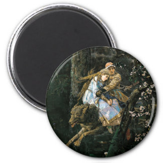 Riding the Grey Wolf Fantasy Art 6 Cm Round Magnet