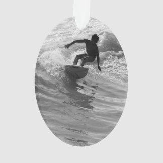 Riding The Wave Grayscale Ornament
