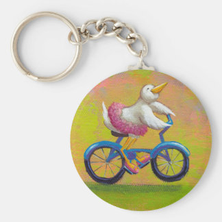 Riding to the Recital - fun happy bicycling bird Keychain