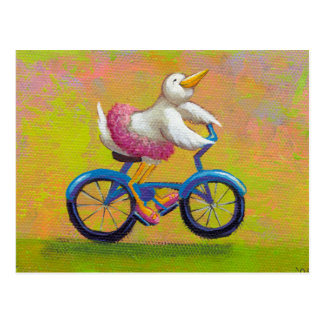 Riding to the Recital - fun happy bicycling bird Postcards