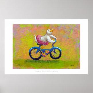 Riding to the Recital - fun happy bicycling bird Poster