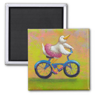 Riding to the Recital - fun happy bicycling bird Square Magnet
