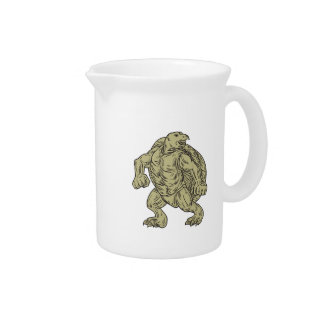 Ridley Sea Turtle Martial Arts Stance Drawing Beverage Pitcher